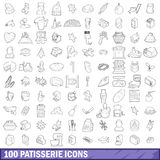 100 patisserie icons set, outline style. 100 patisserie icons set in outline style for any design vector illustration Stock Photos