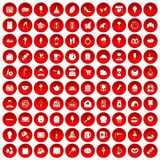 100 patisserie icons set red. 100 patisserie icons set in red circle isolated on white vector illustration Stock Image