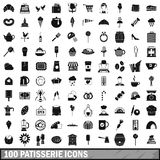 100 patisserie icons set, simple style Stock Images