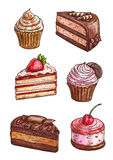 Patisserie sweet desserts scketch icons. Patisserie sweet desserts sketch. Vector isolated confectionery icons of cupcake with strawberry topping, chocolate cake Stock Images