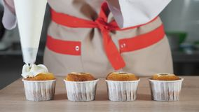 Patissier verziert kleine Kuchen in der weißen Creme der Papierschalen mit Gebäcktasche stock video