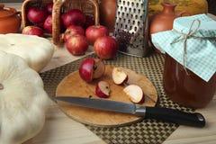 Patissons, Äpfel, Saft, Honig, Kürbis auf dem Desktop für das Kochen der gesunden Diät Retro- stilisiertes Foto Lizenzfreie Stockfotografie
