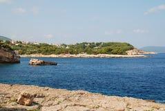 Patitiri coastline, Alonissos. The rocky coastline at Patitiri on the Greek island of Alonissos royalty free stock images