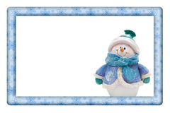 Płatki śniegu z bałwan ramą dla twój zaproszenia lub wiadomości Obrazy Stock