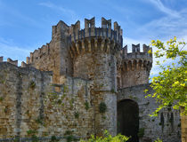 Patmos castle tower Stock Photography