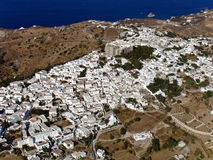 Patmos, Greece, aerial view. Chora village, Patmos, Greece, aerial view royalty free stock images