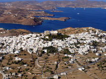 Patmos island, Greece. Aerial view of Patmos island in Greece royalty free stock photo