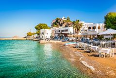 Free Patmos Island, Greece. Skala Village And Harbor View With Beach At The Port. Stock Image - 156948741