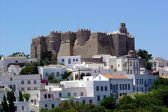 Patmos-Schloss lizenzfreie stockfotos