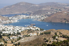 Patmos, view on the town of Skala. View from Chora. Dodecanese island, Greece Royalty Free Stock Images