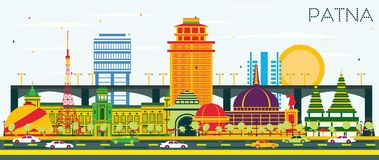 Patna India City Skyline with Color Buildings and Blue Sky. Vector Illustration. Business Travel and Tourism Concept with Modern Architecture. Patna Cityscape stock illustration