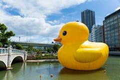 Pato amarillo grande en Osaka Fotos de archivo