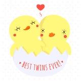 Pato bonito do bebê dos gêmeos no cartão e no fundo do vetor do ovo ilustração royalty free