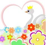 Pato bonito no coração com flores. cartão ilustração do vetor
