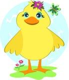 Pato com borboleta e flores ilustração stock