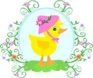 Pato com chapéu, flores, e videiras Fotos de Stock