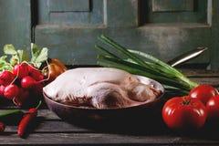 Pato cru com vegetais Imagens de Stock