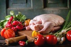 Pato cru com vegetais Imagem de Stock