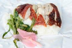Pato de assado sobre o arroz Foto de Stock Royalty Free