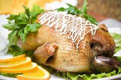 Pato de carne asada con la naranja Imágenes de archivo libres de regalías