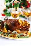 Pato de carne asada de la Navidad Imagenes de archivo