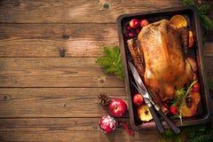 Pato de carne asada de la Navidad con las manzanas y las naranjas en la bandeja de la hornada Fotografía de archivo libre de regalías