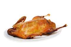 Pato de carne asada en una placa Fotos de archivo