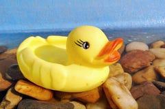 Pato de goma amarillo en agua foto de archivo