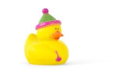 Pato de goma con el sombrero del partido Fotos de archivo libres de regalías