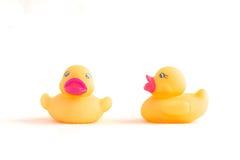 Pato de goma en el fondo blanco Foto de archivo libre de regalías