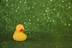 Pato de goma en fondo verde que brilla Imágenes de archivo libres de regalías