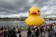 Pato de goma gigante en Pittsburgh Imagen de archivo libre de regalías
