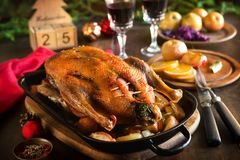 Pato de la Navidad de la carne asada con las manzanas Imagen de archivo libre de regalías