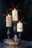Pato de madera de la trampa con las velas imagen de archivo