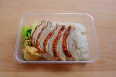 Pato do BBQ sobre o arroz cozinhado Foto de Stock