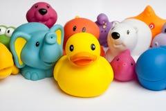Pato e amigos de borracha fotografia de stock royalty free