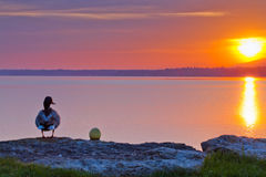 Pato e nascer do sol Imagem de Stock