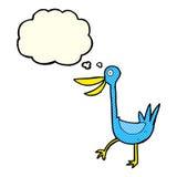 pato engraçado dos desenhos animados com bolha do pensamento Fotografia de Stock Royalty Free