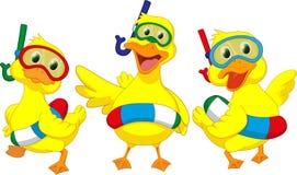 Pato feliz dos desenhos animados com boias Fotos de Stock