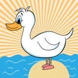 Pato fora do personagem de banda desenhada da água Imagens de Stock Royalty Free