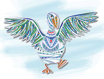 Pato, pintura decorativa Imagenes de archivo