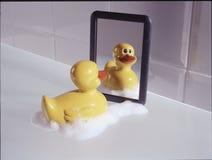 Pato plástico do banho antes de um espelho Foto de Stock