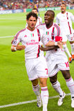 Pato and Seedorf celebrating a goal Royalty Free Stock Image