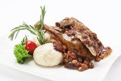 Pato servido com molho Imagem de Stock