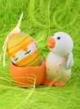 Pato y huevo de Pascua Imágenes de archivo libres de regalías