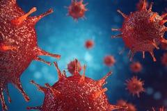 patogna virus för illustration 3d orsaka infektion i värdsorganismen, virus- sjukdomutbrott, abstrakt bakgrund för virus Arkivfoton