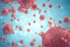 patogna virus för illustration 3d orsaka infektion i värdsorganismen, virus- sjukdomutbrott, abstrakt bakgrund för virus Arkivbilder