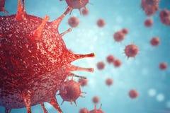 patogna virus för illustration 3d orsaka infektion i värdsorganismen, virus- sjukdomutbrott, abstrakt bakgrund för virus Royaltyfri Fotografi