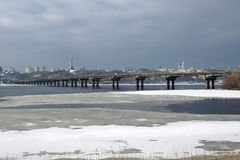 Paton Bridge across the Dnipro royalty free stock image