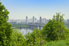 Paton Bridge and the Dnieper, Kyiv, Ukraine Stock Image
